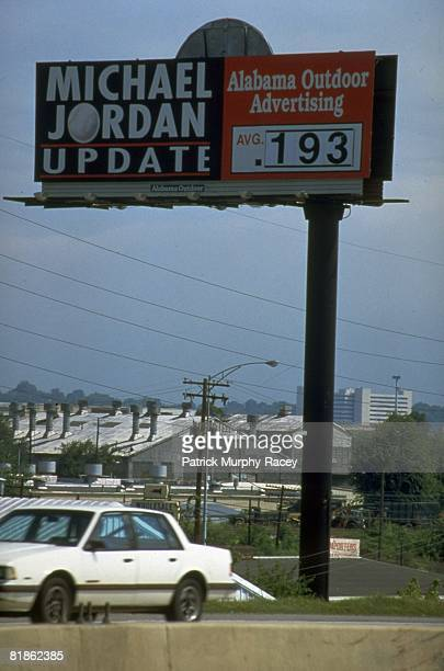 Minor League Baseball View of JORDAN UPDATE billboard showing 193 batting average of basketball player Birmingham Barons Michael Jordan Birmingham AL...