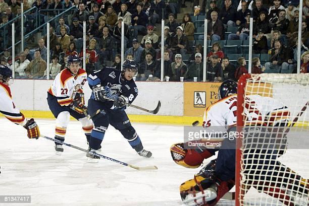 Minor League Hockey: Rimouski Oceanic Sidney Crosby in action, scoring goal vs Acadie-Bathurst Titan goalie Fabio Luongo , Bathurst, CAN