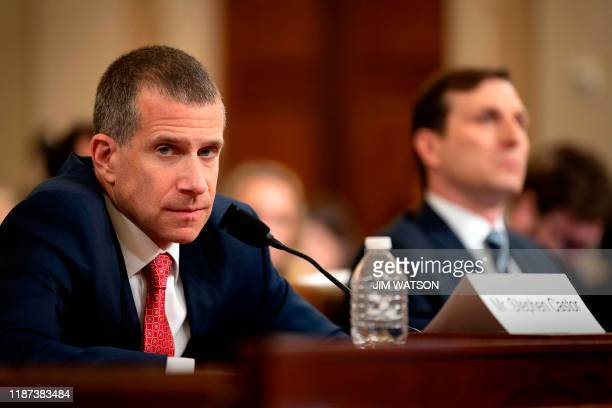 Minority Counsel Stephen Castor and Majority Counsel Daniel Goldman testify during the House Judiciary Committee hearing as part of the impeachment...