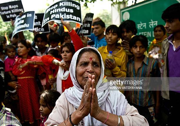 A minority Hindu refugee from Pakistan gestures during a protest outside the United Nations office in New Delhi on April 17 2013 Hindu refugees from...