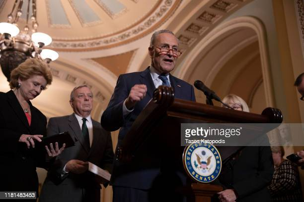 Minority Leader Chuck Schumer talks about the possible impeachment proceedings by the House of Representatives during a press conference after Senate...