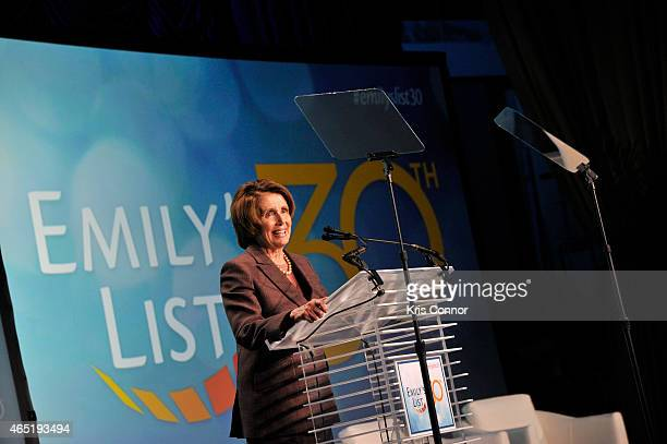 Minority Leader of the United States House of Representatives Nancy Pelosi speaks at EMILY's List 30th Anniversary Gala at Washington Hilton on March...