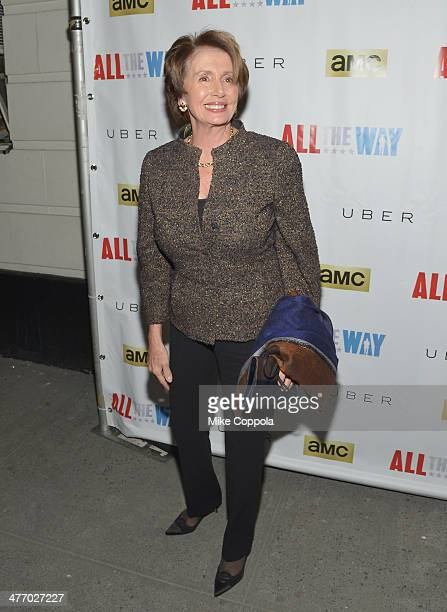 MARCH 06 Minority Leader of the United States House of Representatives Nancy Pelosi attends 'All The Way' opening night at Neil Simon Theatre on...