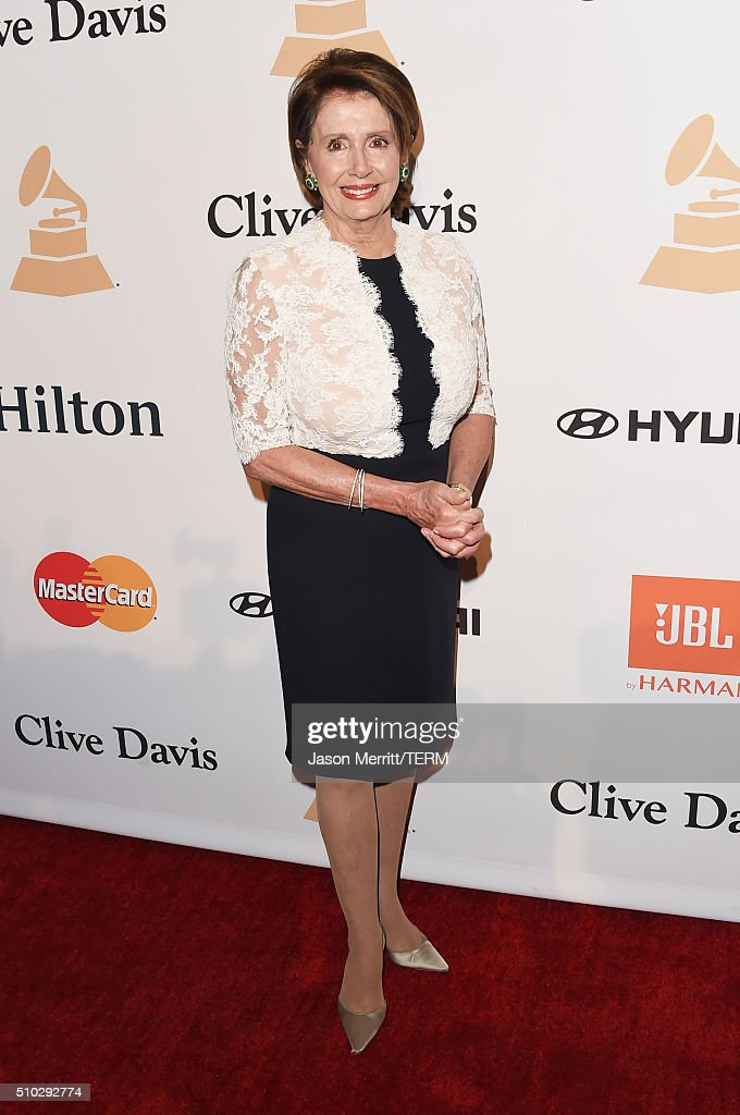 Minority Leader of the United States House of Representatives Nancy Pelosi attends the 2016 Pre-GRAMMY Gala and Salute to Industry Icons honoring Irving Azoff at The Beverly Hilton Hotel on February 14, 2016 in Beverly Hills, California.
