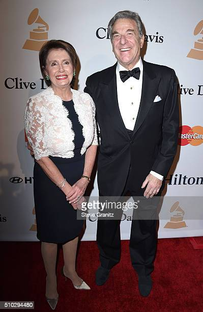 Minority Leader of the United States House of Representatives Nancy Pelosi and Paul Pelosi attend the 2016 PreGRAMMY Gala and Salute to Industry...
