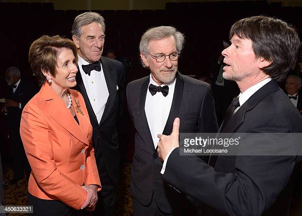 Minority Leader of the US House of Representatives Nancy Pelosi Paul Pelosi filmmaker and honoree Steven Spielberg and Foundation for the National...