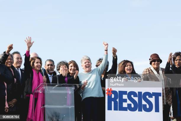 Minority Leader of the US House of Representatives Nancy Pelosi stands with other Democrats on the steps of the Lincoln Memorial as they speak at the...