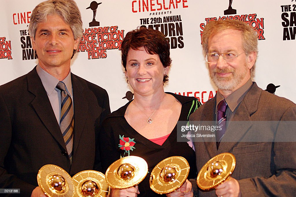 Minority Report winners producers Walter Parkes, Bonnie Curtis and director Steven Spielberg attend the 29th Annual Saturn Awards presented by Cinescape May 18, 2003 at the Renaissance Hollywood Hotel in Los Angeles, California.