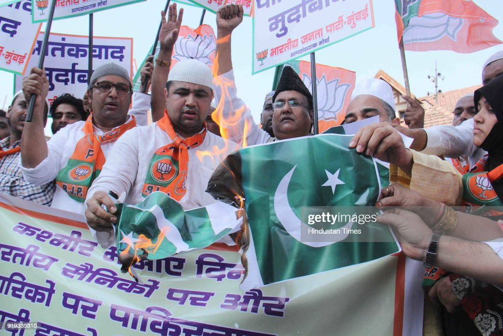BJP Minority Workers Protest Against Pakistan Terror Activities For Attacking Indian Army Camp