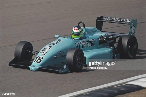 Minoru Tanaka of Japan drives the West Surrey Racing Leyton House Ralt RT34 Mugen Honda during the British Formula 3 Championship race on14 July 1990...