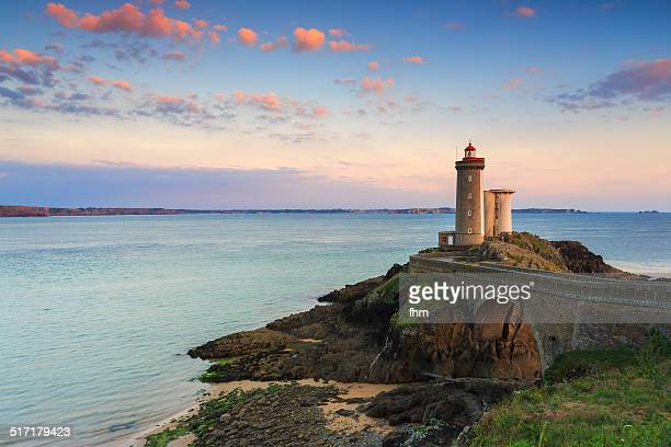 minou lighthouse in france - finistere stock photos and pictures