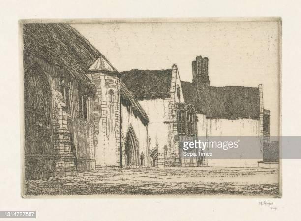 Minsden Episcopi, Frederick Landseer Maur Griggs, 1876–1938, British Etching, arches, architectural subject, bay windows, buttresses, chimney,...
