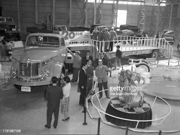 Minsei Diesel's 6TW12T Trailer Truck is displayed during the 7th Tokyo Motor Show at the International Trade Center on October 24, 1960 in Tokyo,...