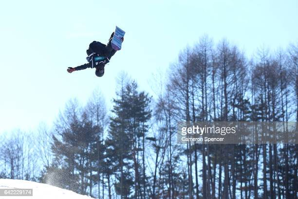 MinSik Lee of Korea competes in the FIS Freestyle World Cup Snowboard Halfpipe Qualification at Bokwang Snow Park on February 17 2017 in...