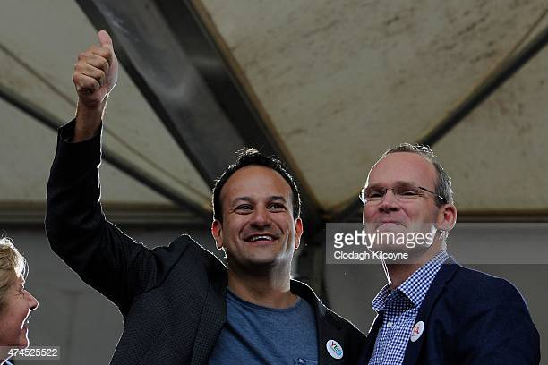 Minsister Leo Varadkar and Simon Coveney TD celebrate a landslide victory of a Yes vote after a referendum on same sex marriage was won by popular...