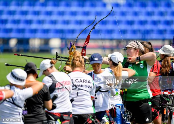Minsk Belarus 21 June 2019 Maeve Reidy of Ireland third from right competeing in the Womens Individual Recurve qualification on Day 1 of the Minsk...