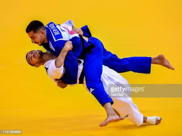 Minsk , Belarus - 22 June 2019; Amiran Papinashvili of Georgia, white, in action against Daniel Ben David of Israel during their Men's Judo Extra...