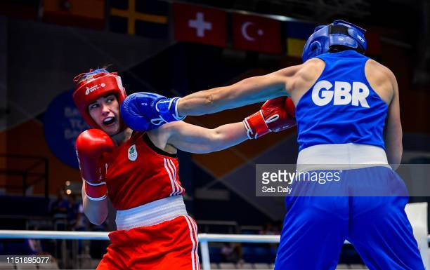 Minsk Belarus 24 June 2019 Grainne Walsh of Ireland left in action against Rosie Eccles of Great Britain during their Womens Featherweight bout at...