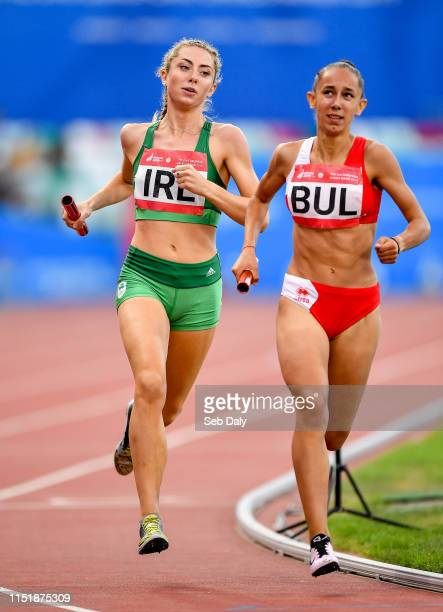 Minsk Belarus 25 June 2019 Amy O'Donoghue of Ireland left and Lilyana Georgieva of Bulgaria compete in The Hunt Mixed Medley Relay during Dynamic New...