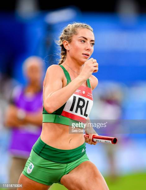 Minsk Belarus 25 June 2019 Amy O'Donoghue of of Ireland competes in The Hunt Mixed Medley Relay during Dynamic New Athletics quarterfinal match two...