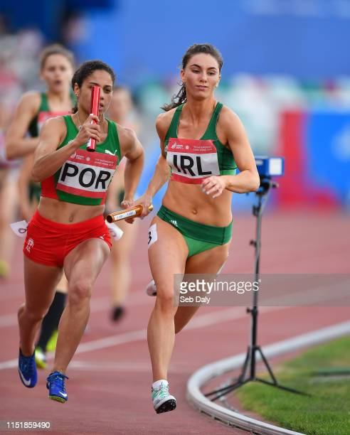 Minsk Belarus 25 June 2019 Kelly McGrory of Ireland competes in the 4x400 Mixed Relay during Dynamic New Athletics quarterfinal match two at Dinamo...