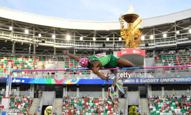 Minsk Belarus 25 June 2019 Nelvin Appiah of Ireland competes in the Men's High Jump during Dynamic New Athletics qualification match three at Dinamo...