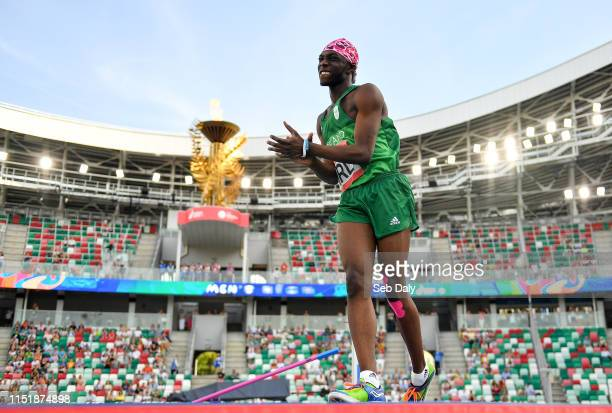 Minsk Belarus 25 June 2019 Nelvin Appiah of Ireland reacts are failing to clear the bar during the Men's High Jump during Dynamic New Athletics...