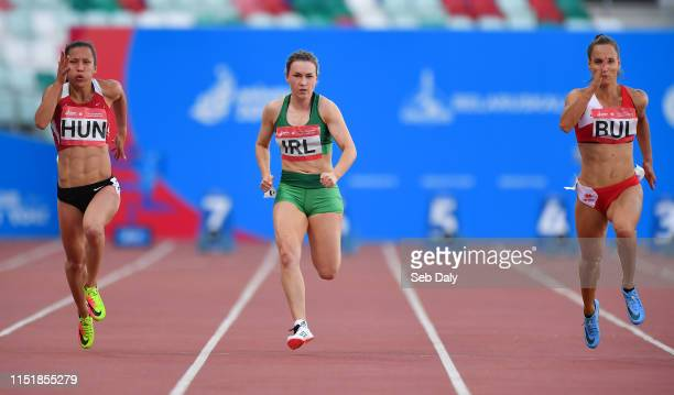 Minsk Belarus 25 June 2019 Niamh Whelan centre of Ireland competes in the Women's 100m during Dynamic New Athletics quarterfinal match two at Dinamo...