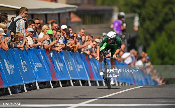 Minsk Belarus 25 June 2019 Ryan Mullen of Ireland on his way to finishing the Men's Cycling Time Trial on Day 5 of the Minsk 2019 2nd European Games...