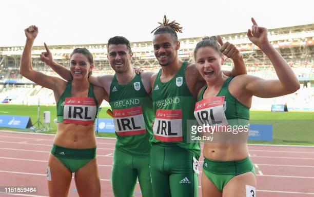 Minsk Belarus 25 June 2019 Team Ireland from left Kelly McGrory Andrew Mellon Luke Lennon and Sinead Denny celebrate after winning the 4x400 Mixed...