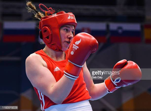 Minsk Belarus 26 June 2019 Aoife O'Rourke of Ireland during her Womens Middleweight quarterfinal bout against Lauren Price of Great Britain at...