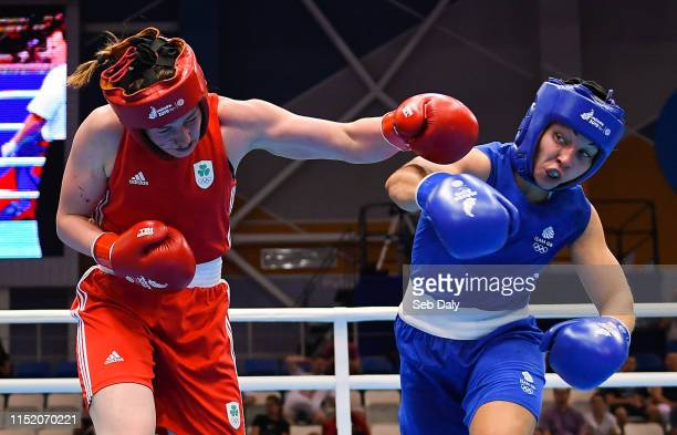 Minsk Belarus 26 June 2019 Aoife O'Rourke of Ireland left in action against Lauren Price of Great Britain during their Womens Middleweight...
