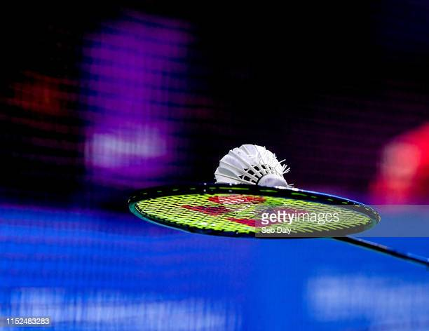 Minsk , Belarus - 28 June 2019; A view of a shuttlecock during the Mixed Badminton Doubles quarter-final match between Samuel Magee and Chloe Magee...