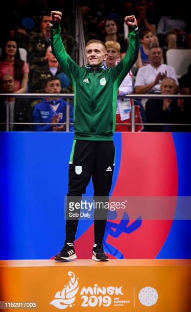 Minsk Belarus 30 June 2019 Gold medalist Kurt Walker of Ireland during the Mens Bantamweight medal ceremony at Uruchie Sports Palace on Day 10 of the...