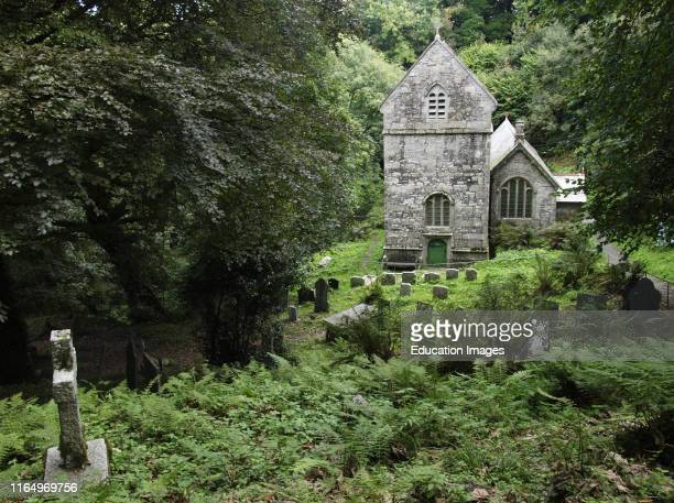 Minster Church Boscastle Cornwall UK church in the woods on the slopes of the Valency Valley