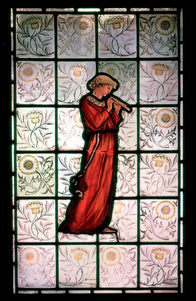 Minstrel, 19th century stained glass window