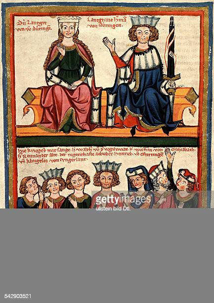 Minstrels / minnesong legend of the song contest at the Wartburg 1207 above Landgrave Hermann I of Thuringia and his spouse Sophia below fl Walter vd...