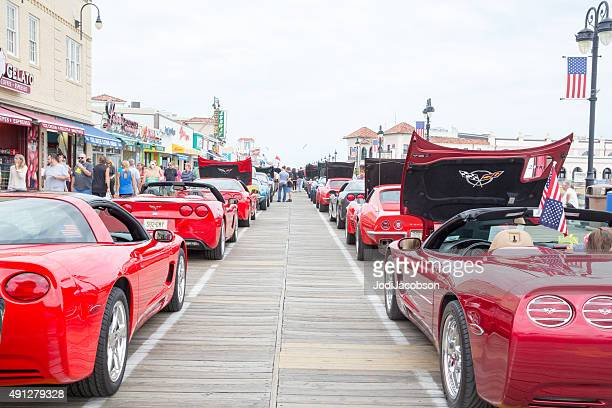 mint condition corvettes at car show in ocean city, nj - ocean city new jersey stock pictures, royalty-free photos & images