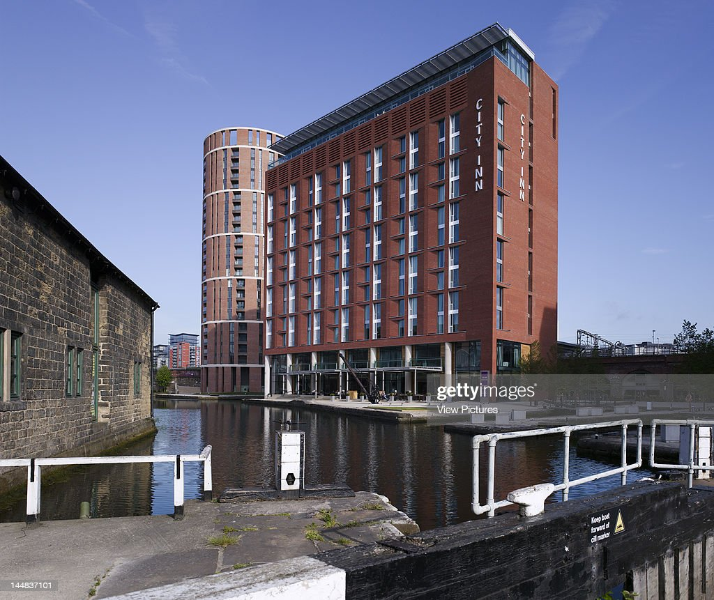 Mint Hotel, Granary Wharf, Leeds, West Yorkshire, United Kingdom, Architect: Allies And Morrison, 2009, City Inn Hotel Allies & Morrison Historic Granary Wharf Regeneration Project Leeds 2009 Oblique South Elevation With Historic Canal