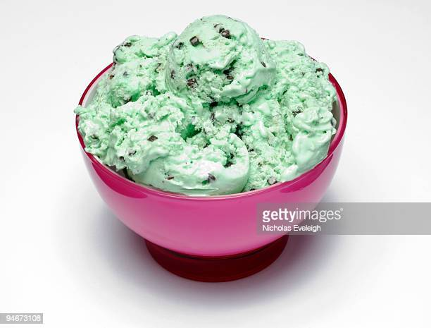Mint ice cream in a bowl