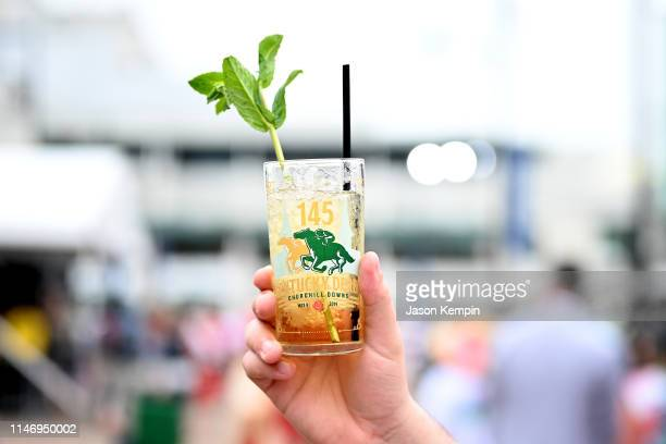 A mint julep cocktail seen at the 145th Kentucky Derby at Churchill Downs on May 04 2019 in Louisville Kentucky