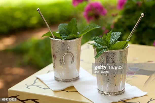 mint julep in kentucky derby style metal cup - mint julep stock pictures, royalty-free photos & images