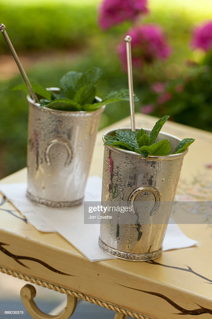 Mint Julep in Kentucky Derby Style Metal Cup : Stock Photo