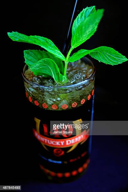 A mint julep is seen prior to the 140th running of the Kentucky Oaks at Churchill Downs on May 2 2014 in Louisville Kentucky
