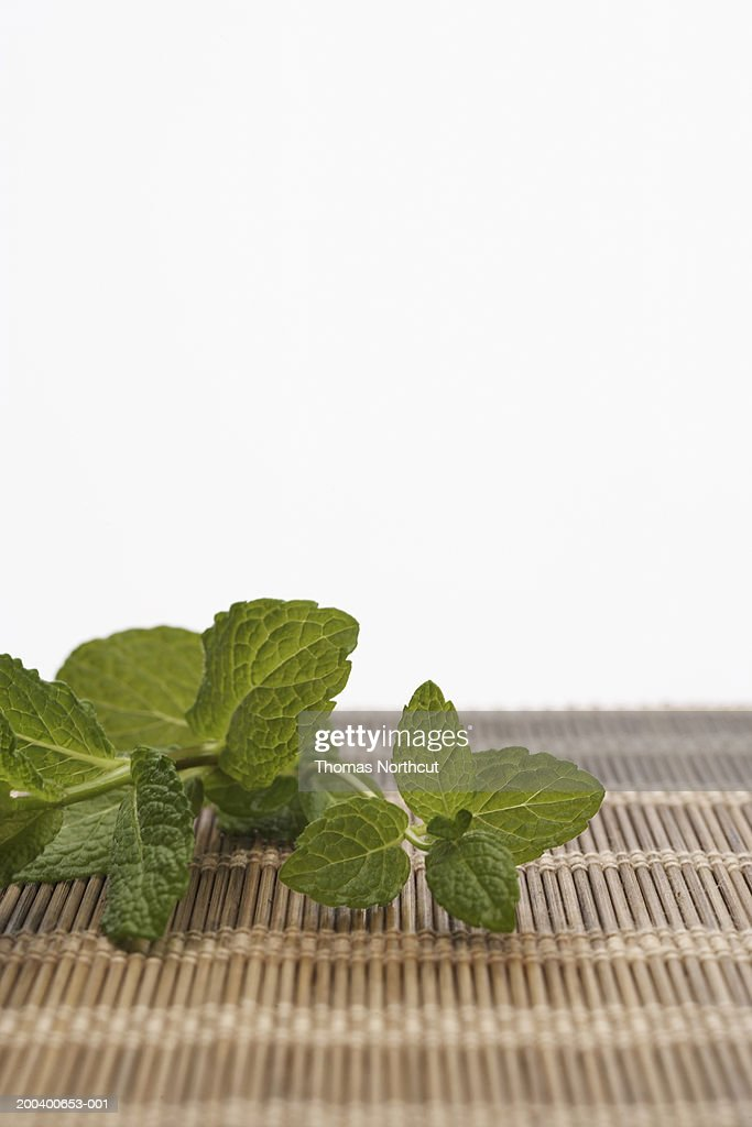 Mint leaves atop mat (focus on mint) : Stock Photo