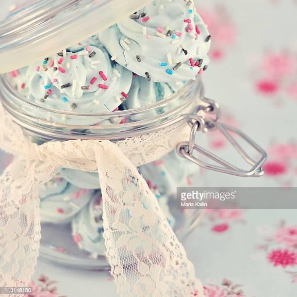 Mint meringue in glass jar