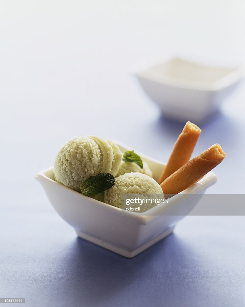 Mint Sorbet with Cookies in Bowl : Stockfoto