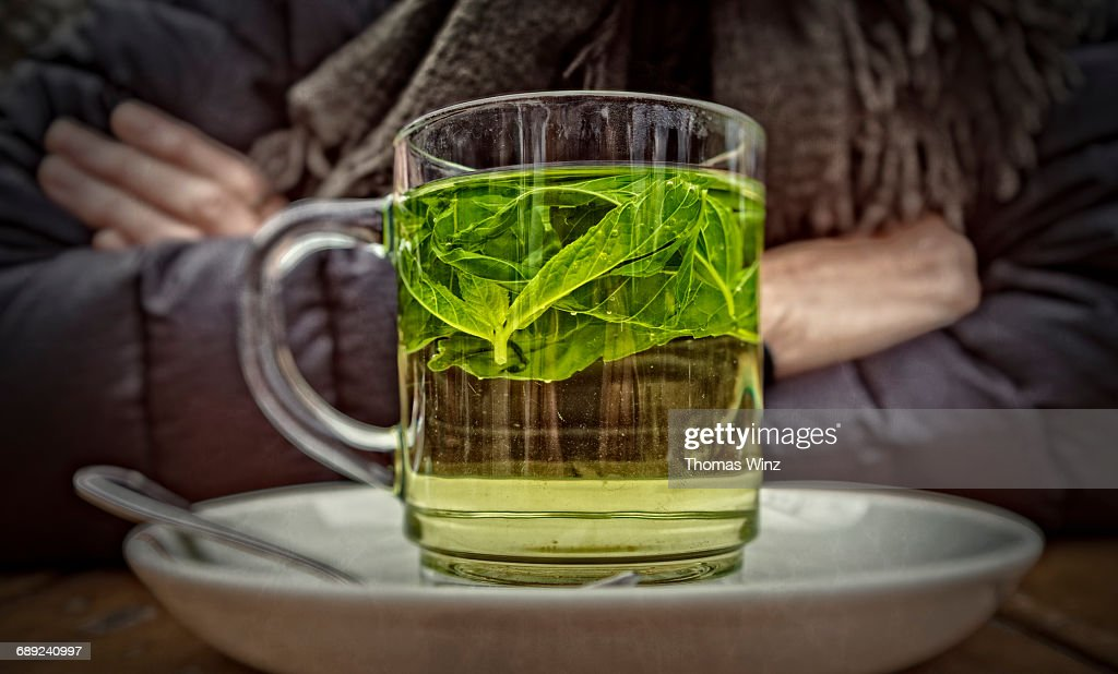 Mint Tea on a cold day : Stock Photo