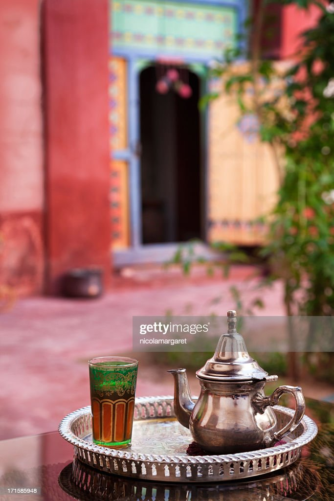 Mint tea served in Moroccan Riad (courtyard) : Stock Photo