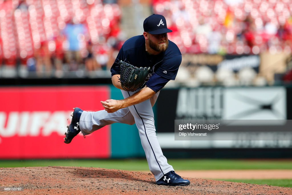 A.J. Minter #33 of the Atlanta Braves delivers a pitch against the St. Louis Cardinals in the ninth inning at Busch Stadium on July 1, 2018 in St. Louis, Missouri.